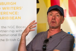Scottish author Irvine Welsh, engaging with a question at the Bocas Lit Fest.